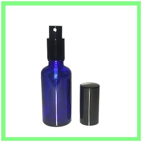 Flacon HE 50ml Bleu Vaporisateur Noir