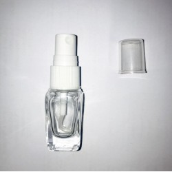 Flacon 10ml transparent carré vapo blanc ou noir