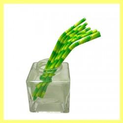 05 Pailles flexibles papier coloris bambou
