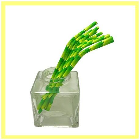 Pailles papier coloris bambou pliables