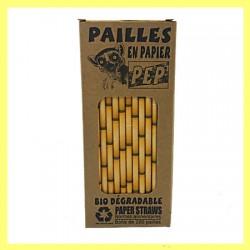 03 Pailles papier bambou jaunes